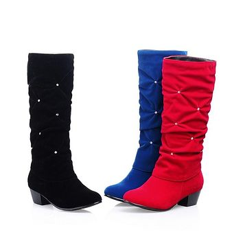 Woman's Rhinestone Tall Boots Shoes