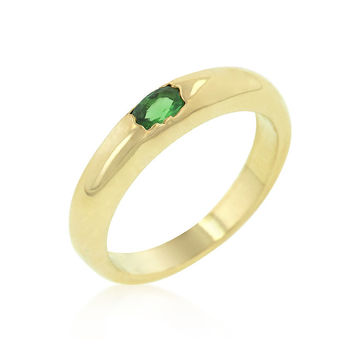 Green Oval Simple Ring - Gold/Green /