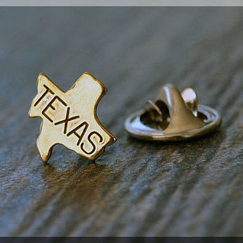 Brass State of Texas Tie Tac, Lapel Pin, Texas Brooch, Gift for Him, Gift Under 10 Dollars, Tiny State Tie Tack, Texas State Pride Lapel Pin
