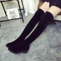 Hot Deal On Sale Round-toe With Heel Stretch Slim Boots [9013544260]