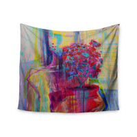 """Cecibd """"Girl With Plants III"""" Abstract Painting Wall Tapestry"""