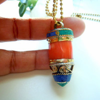Tusk Necklace - Natural Gemstone - Coral - Lapis -Turquoise -Brass - Horn Necklace - Unisex