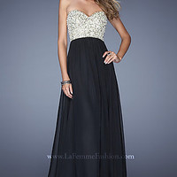 Strapless La Femme Prom Gown with Sequin Bodice
