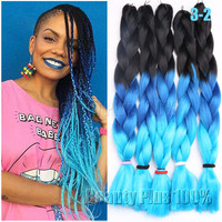 "3 tone Ombre Colors Braiding Hair 24"" Purple/Pink/Blue Jumbo Braid Xpression Braiding Hair Synthetic Box Braids Hair extension"