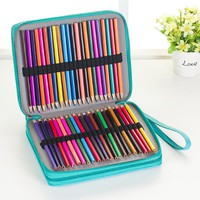 124 Holders Large Capacity Pencil Case for Art Pens Watercolor Colored PU Leather Pencils Bag Box School Stationery Supplies