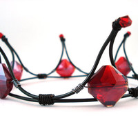 The Queen of Diamonds Black & Red Gothic Tiara Made by angelyques