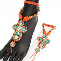 Pair (2) Barefoot Beaded Coral Cross Wrap Boho Anklet Sandals