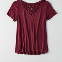 AEO Soft & Sexy Cage Front T-Shirt , Plum