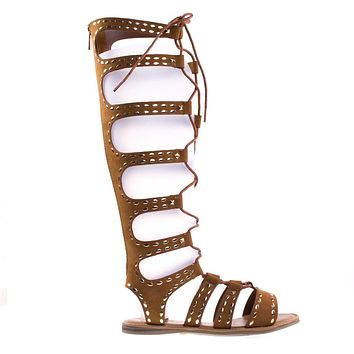 Bliss50M By Bamboo Knee High Gladiator Flats W Ghillie Lace Up & Metal Stud Detail