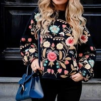 navy floral embroidered on both sides oversized sweater women pullovers long sleeve warm blusas de inverno 2017