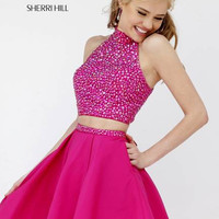 Sherri Hill 11317 Short Halter Crop Top Beaded Prom Dress