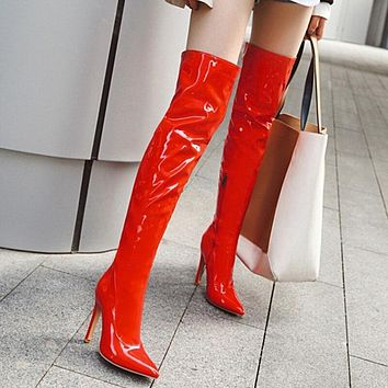 Sexy Mirror Red Leather Thigh High Boots Women High Heels Over The Knee Boots For Women Point Toe Fetish Party Long Shoes