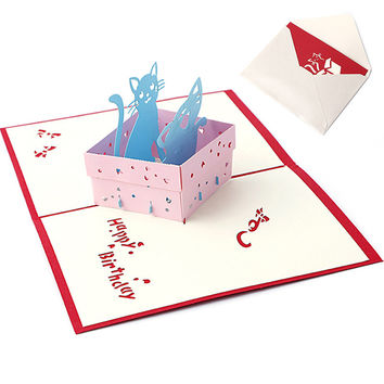 3D Pop UP Holiday Greeting Card Cat Box Animal Christmas Thanksgiving Birthday Gift -Y102