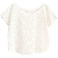 White Crochet Lace Floral Short Sleeve Cropped Cover-up Top