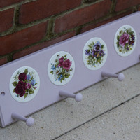 Light pink purple painted coat and accessory hanger with flower ceramic circles