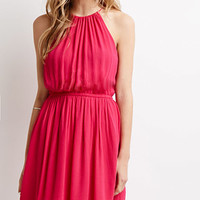 Crinkled Crepe Halter Dress