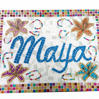 Personalized Name Art, Family Name Sign, Mosaic Home Decor, Nursery Wall Art
