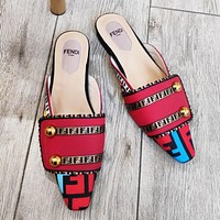 Fendi New fashion more letter print leather women shoes slippers