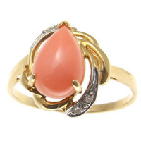 GENUINE NATURAL PEAR SHAPE PINK CORAL DIAMOND RING IN SOLID 14K YELLOW GOLD