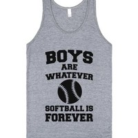 Boys Are Whatever Softball Is Forever-Unisex Athletic Grey Tank