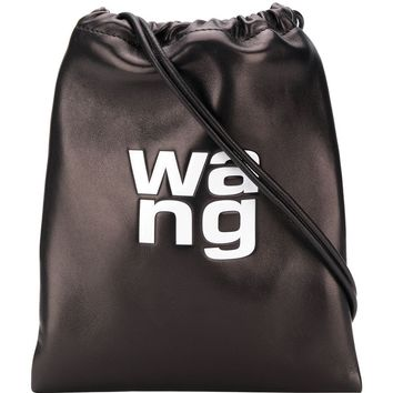 Black Leather Embossed Logo Drawstring Bag by Alexander Wang