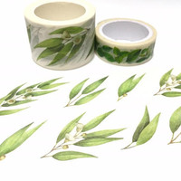 greenery leaves Washi Tape 8M x 3cm Green leaves spring garden leaves green plant sticker wide tape plant diary gardening planner gift