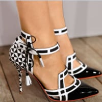 The new style of pointy, cut-out ankle lace-up pumps