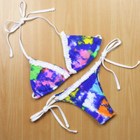 New Fashion Women Sexy Print Push up Bikini Set Retro Swimwear Swimsuit Beach Bathing Suit Size S,M,L