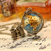 Steampunk Terrestrial Globe Big Bronze Pendant Necklace With Small Binoculars Charm