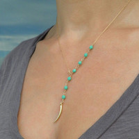 Delicate Turquoise Y Necklace // Tiny Vermeil Tusk // 14K Gold Fill or Sterling Silver Chain LN713