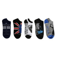 Doctor Who Dalek TARDIS No-Show Socks 5 Pair