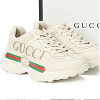 Gucci old shoes Rhyton printed PU sneakers Beige