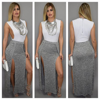 White and Grey Sleeveless High Slit Maxi Dress