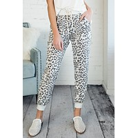 What Will It Be Leopard Print Joggers : H. Grey/Brown