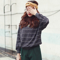 Mock Neck Stripe Letter Patched Pullover Sweater