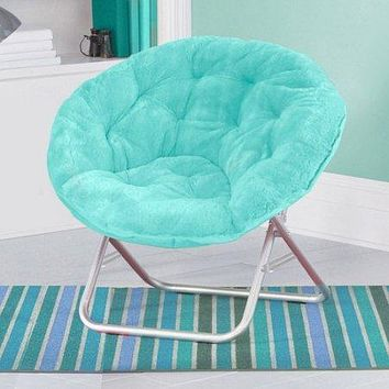 Mainstays Faux-Fur Saucer Chair with Cool faux-fur fabric, soft and wide seat, Perfect for lounging, dorms or any room in Multiple colors (Aqua Wind) Aqua Wind