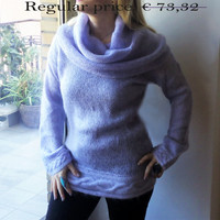 SALE 20% Long sweater with hood/Knitted mauve sweater/Fashion great neck sweater/ Hooded sweater/Fashion long sweater/Elegant Mohair sweater