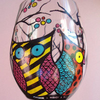 Wine Me Hand Painted Owl Wine Glass by WineMe on Etsy