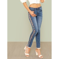 Lace Up Skinny Leg Jeans BLUE