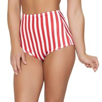 Roma USA Dance Rave Wear American Flag (Red/White Stripes) High-Waisted Shorts