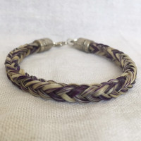 5mm Thick Horse Hair Bracelet with Silver Heart Charm