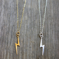 Gold or Sterling Silver Large Lightning Bolt Charm Necklace on 14k Gold Filled or Sterling Silver Chain Pendant Necklace Fall Collection