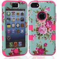 MagicSky Plastic + Silicone Tuff Dual Layer Hybrid Rose Flower On Green Case for Apple iPhone 5C - 1 Pack - Retail Packaging - Baby Pink