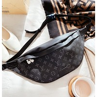 LV Fashion New Monogram Print Shoulder Bag Crossbody Bag Waist Bag Black