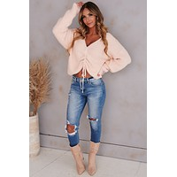 Secrets In The Sand Ruched Knit Sweater (Baby Pink)