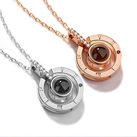 ping New Rose Gold Silver 100 Languages I Love You Projection Pendant Necklace Romantic Love Memory Wedding Necklace