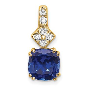 14K Yellow Gold Lab Grown Real Diamond & Created Blue Sapphire Pendant