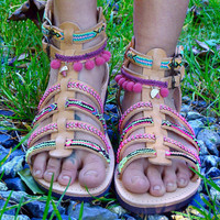 Greek Leather Strappy Sandals, Boho Spartan sandals, Pom Pom sandals, friendship sandals, colorful hippie flat summer shoes, gift for her