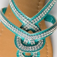 Woven Jeweled Thong Sandal - Turquoise from Sandals at Lucky 21 Lucky 21