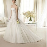 White Ball Strapless Beading Lace Tulle 2013 Wedding Dress IWD0189 -Shop offer 2013 wedding dresses,prom dresses,party dresses for girls on sale. #Category#